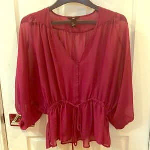 Women's sheer blouse with stretch in burgundy